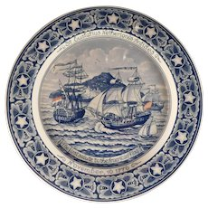 First Salute Delft Plate The Ship Andrew Doria at St. Eustatius