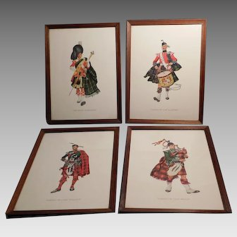 4 Highland Piper Dewars Prints 1950s Gordons McIntyre Bruce and Wallace