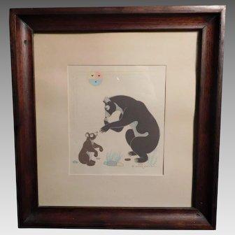 Bear and Cub Seriagraph Silkscreen Print Gerald Nailor Navajo Artist Tewa