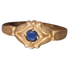 Simulated Sapphire Baby Ring 10 Karat Yellow Gold Ostby and Barton