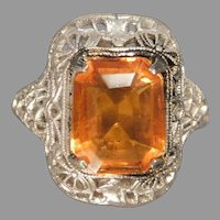 Sterling Silver Filigree Ring Simulated Citrine