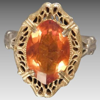Sterling Silver and Vermeil Filigree Ring Simulated Citrine