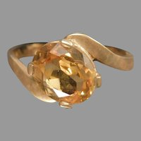 10 Karat Yellow Gold Simulated Citrine Ladies Ring November Birthstone