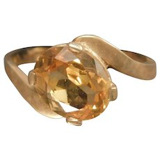 10 Karat Yellow Gold Simulated Citrine Ladies Ring November Birthstone