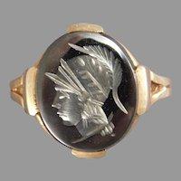 Ladies 10 Karat Yellow Gold Hematite Intaglio Ring