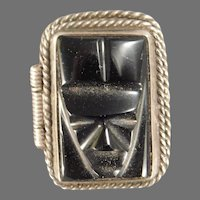 Sterling Silver Mexican Onyx Tribal Head Poison Ring
