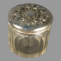 Glass Dresser Jar with Silver Repousse Lid by Unger Brothers