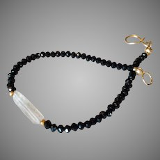 Black Spinel and Herkimer Diamond Gemstone Bracelet