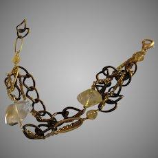 Voyage Series:Mixed Chain Bracelet with Citrine Gemstones