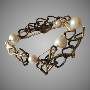 Voyage Series:Mixed Chain Bracelet with Freshwater Cultured Pearls