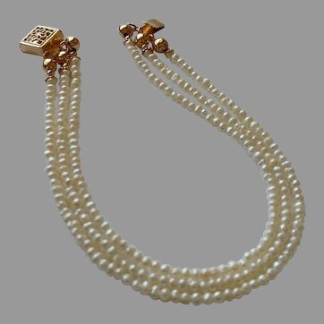 Petite Cultured Pearls in 3 Strand Tailored Style Bracelet with Gold Fill