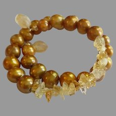 Flamboyant Wrap Around Gemstone Bracelet with Citrine and XL Gold Tone Cultured Pearls