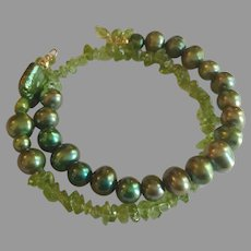 Flamboyant Wrap Around Gemstone Bracelet with Peridot and XL Green Cultured Pearls