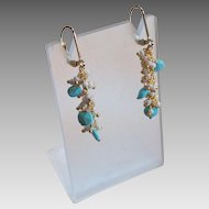 Turquoise Gem Earrings With Tiny White Shell Pearls and 14k Gold Fill