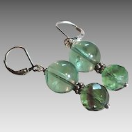 Green Fluorite Gemstone Earrings