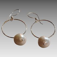 Fresh Style: XL White Freshwater Cultured Pearl Earrings with Sterling Silver Circles