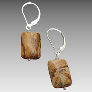 Picture Jasper Earrings with Sterling Silver