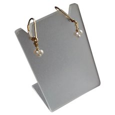 Tiny White Freshwater Cultured Pearl Gem Earrings
