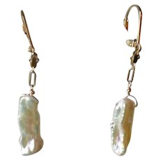 "Natural White Freshwater Cultured Pearl ""Stick"" Earrings with 14k Gold Fill"