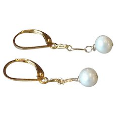 Round White Freshwater Cultured Pearls with 14k Gold Fill