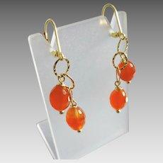 Carnelian Double-Drop Gemstone Earrings with 14k Gold Fill