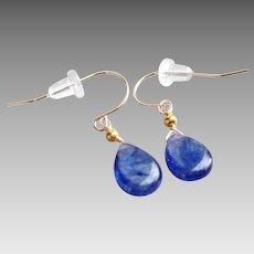 Sleek Blue Sapphire Gem Earrings with 20k Gold Beads & 14k Gold Ear Wires