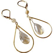 Rutilated Quartz Gemstone Earrings with 14k Gold Fill