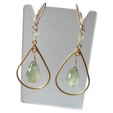 Prehnite Gemstone Earrings with 14k Gold Fill