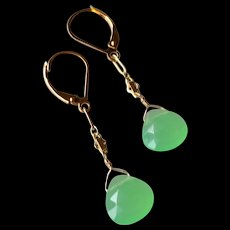 Leaf-Green Chalcedony Gem Earrings with 14k Gold Fill
