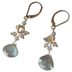 Labradorite Gemstone Earrings with 14k Gold Fill