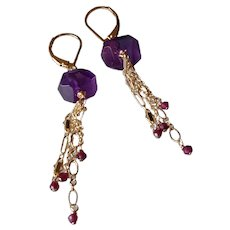 Amethyst Gemstone Earrings with 14k Gold Fill Chain and Garnet Gem Drops