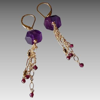 Amethyst Gemstone Earrings with 14k Gold Fill Chain and Garnet Gem Drops