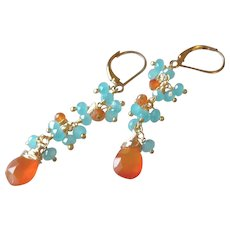 Tango! Gemstone Earrings with Blue Chalcedony and Orange Carnelian