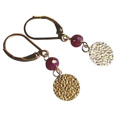 Ruby Gemstone Earrings with 14k Gold Fill Disc