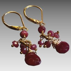 Glowing Deep Red Ruby Gemstone Earrings with 14k Gold Fill