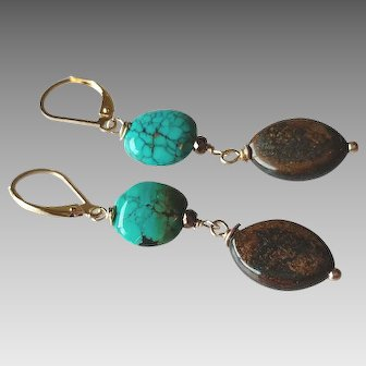 Turquoise and Bronzite Gemstone Earrings with 14k Gold Fill