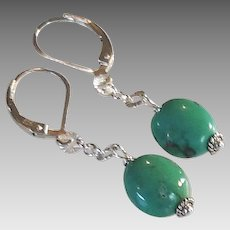 Turquoise Gem Earrings with Sterling Silver
