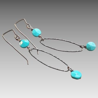 Sky Blue Turquoise Gem Earrings with Oxidized Sterling Silver