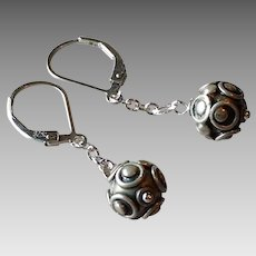 Handmade Sterling Silver Ball Bead Earrings