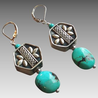 Handcrafted Sterling Silver Hexagon with Turquoise: Gemstone Earrings
