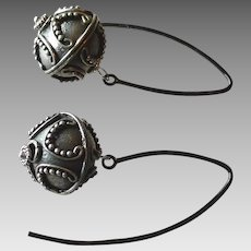 Handcrafted Large Sterling Silver Ball Earrings, Partially Oxidized