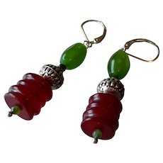 Green and Burgundy Jade Gem Earrings with Sterling Silver