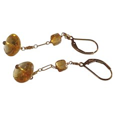 Dazzling Sunny Yellow Citrine Earrings with 14k Gold Fill
