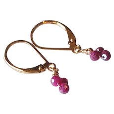 Pink Sapphire Silverite Gemstone Earrings with 14k Gold Fill