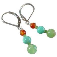 Carnelian, Jade and Peruvian Opal Gemstone Earrings with Sterling Silver