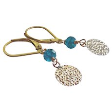 Neon Apatite Gemstone Earrings with 14k Gold Fill Disc