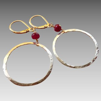 Large 14k Gold Fill Circle Hoop Earrings with Rubies