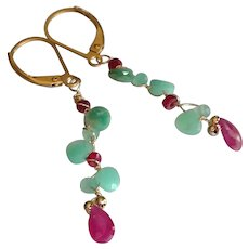 Chrysoprase and Ruby Gemstone Earrings with 14k Gold Fill