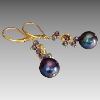 Midnight Blue Freshwater Cultured Pearl Earrings with Mystic Amethyst Gems