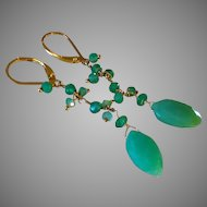 Emerald and Chrysoprase Gemstone Earrings with 14k Gold Fill